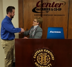 EKU Provost Janna Vice presents Dan Galloway from Fastenal with the Employer of